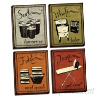 Red Barrel Studio Laundry Set 'Vintage Sort Wash Fold and Iron Signs' Graphic Art Print Set RDBA6733