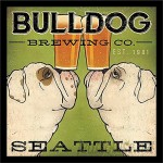 Buy Art For Less 'Bulldog Brewing Company Seattle' by Ryan Fowler Framed Vintage Advertisement BYAR1241