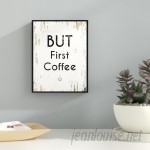 Ebern Designs 'But First Coffee' Framed Textual Art on Canvas in White TCVJ1017