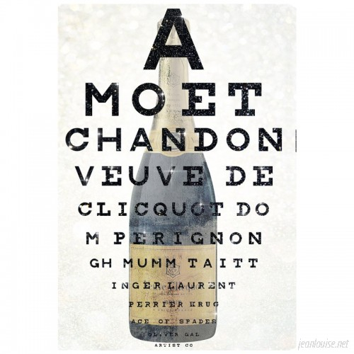 Oliver Gal 'Champagne Eye Chart' Graphic Art on Wrapped Canvas OLGL1282