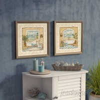 Beachcrest Home 'Ocean View' 2 Piece Framed Acrylic Painting Print Set Under Glass BCMH2501