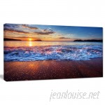 DesignArt 'Blue Sea Waves during Sunset' Photographic Print on Wrapped Canvas DOSK4569