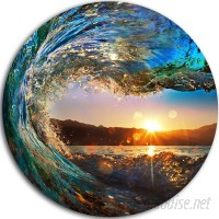 DesignArt 'Colored Ocean Waves Falling Down' Photographic Print on Metal APCP7541