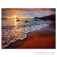 DesignArt 'Stunning Ocean Beach at Sunset' Photographic Print on Wrapped Canvas DOSK4975