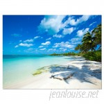DesignArt Tropical Beach with Palm Shadows Large Seashore Photographic Print on Wrapped Canvas ESIG9361
