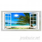 DesignArt Window Open to Beach with Palm Graphic Art on Wrapped Canvas ESIG8381