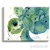 DiaNocheDesigns 'Sea Turtle' by Dawn Derman Painting Print on Wrapped Canvas DNOC1441