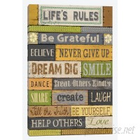 East Urban Home Life's Rules Textual Art on Wrapped Canvas USSC3033