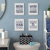 Harriet Bee 'Pierce Chevron Bathroom Rules' 4 Piece Textual Art Wall Plaque Set HBEE7384
