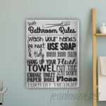 JDS Personalized Gifts Bathroom Rules Textual Art on Canvas in White JMSI3018