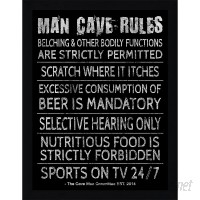 """PicturePerfectInternational """"Man Cave Rules V"""" Framed Textual Art FCAC3879"""
