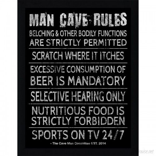 PicturePerfectInternational Man Cave Rules V Framed Textual Art FCAC3879